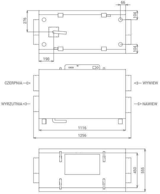 Wymiary centrali wentylacyjnej Thessla Green AirPack Home 400h